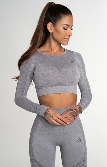 Gym Glamour Crop Top Bezšvíkový Fusion Light Grey