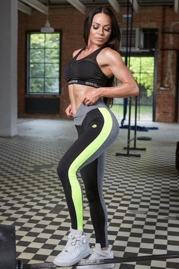 Legíny Gym Glamour S Neonovým Pruhem