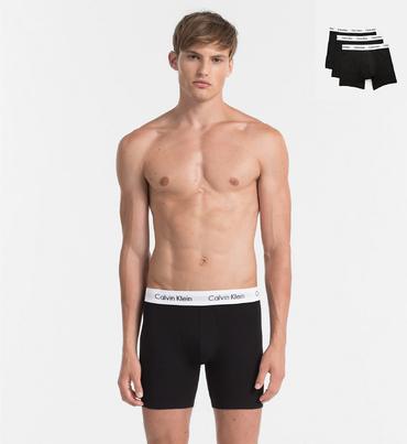 Calvin Klein 3Pack Boxerky Dlhé Black