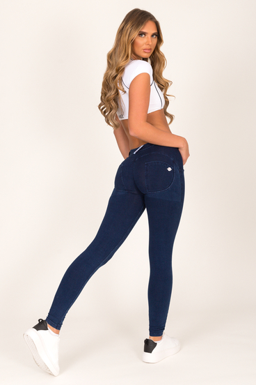 Hugz Dark Blue Low Waist Denim Dark Stitch