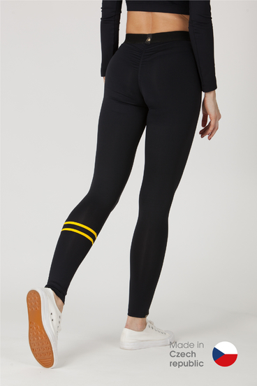 GoldBee Legíny BeStripe Down Black&Yellow