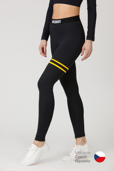 GoldBee Legíny BeStripe Up Black&Yellow