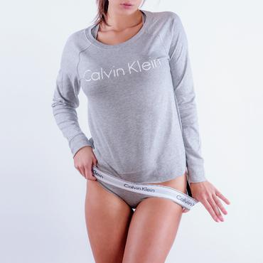 Calvin Klein Mikina Šedá S Nápisom