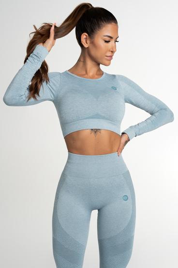 Gym Glamour Crop Top Bezšvíkový Fusion Blue