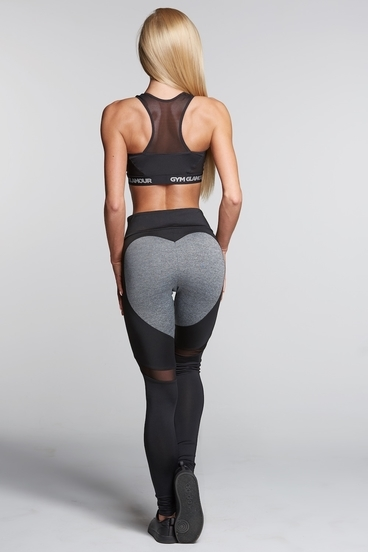 Gym Glamour Legíny Black And Grey Heart