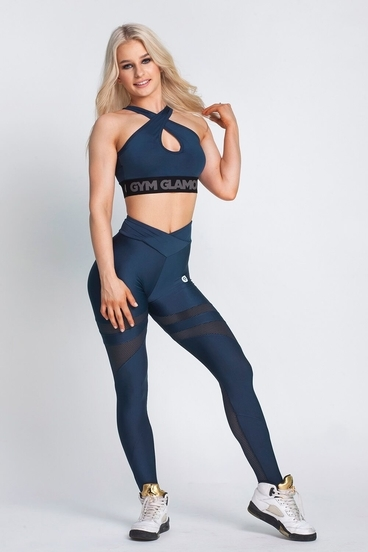 Legíny Gym Glamour Midnight Navy Mesh