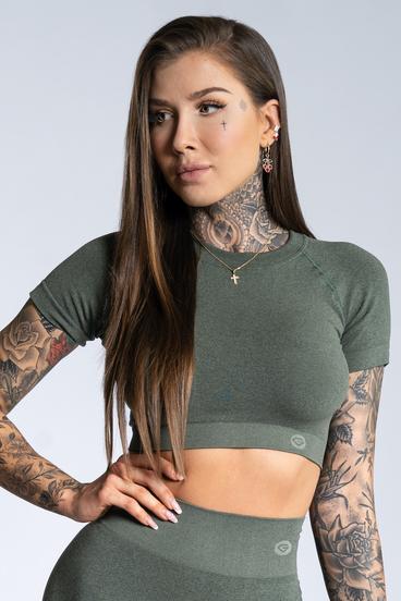 Gym Glamour Crop-Top s krátkým rukávom Khaki Ombre