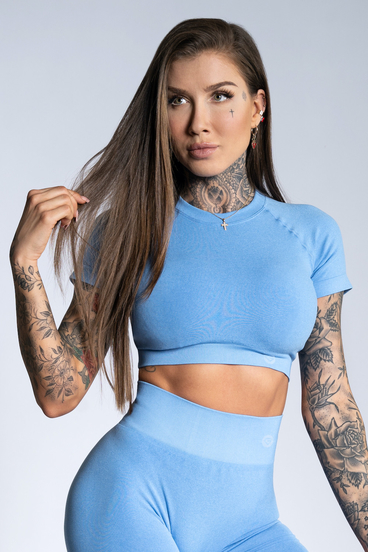 Gym Glamour Crop-Top s krátkým rukávom Blue Ombre