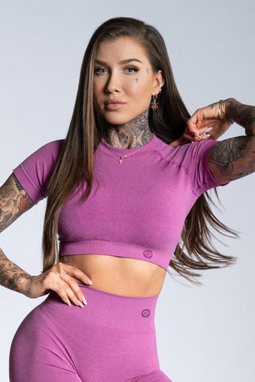 Gym Glamour Crop-Top s krátkým rukávom Pink Ombre