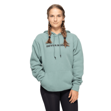 Better Bodies Mikina Logo Hoodie Teal Green