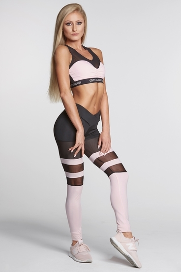 Legíny Gym Glamour Mesh And Pink Socks