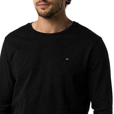 Tommy Hilfiger Pánske tričko s dlhým rukávom Čierne
