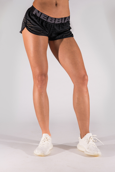 Nebbia 651 Shorts With Transparent Stripes Čierné