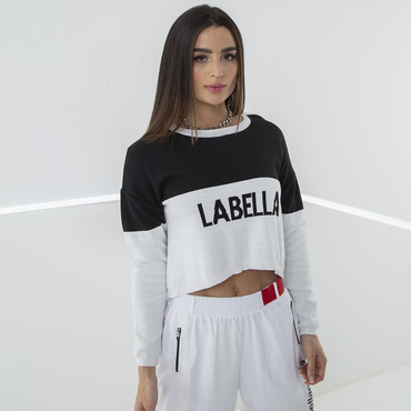 Labella Crop-top Mikina Black/White
