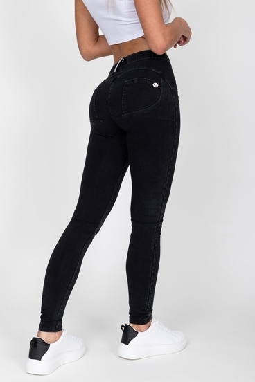 Hugz Black Mid Waist Denim Black Stitch