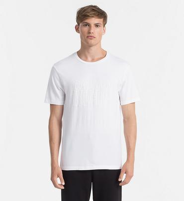 Calvin Klein Pánske Tričko S Nápisom Biele