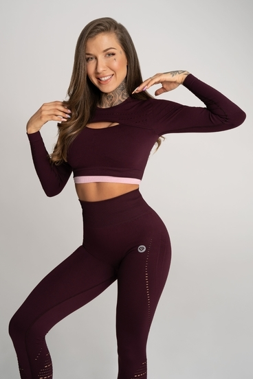 Gym Glamour Crop Top Deynn Bordo
