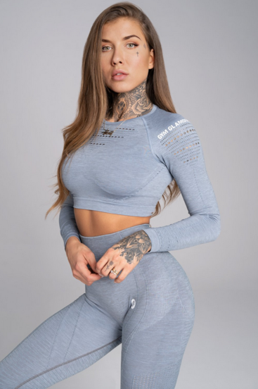 Gym Glamour Crop-Top Steel Melange