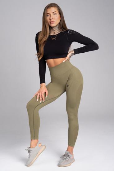 Gym Glamour Legíny Bezšvíkové Combat Khaki