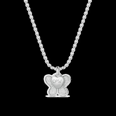 Ops! Objects Glitter Náhrdelník Silver Butterfly