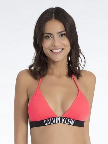 Calvin Klein Plavky Fixed Triangle Diva Pink Vrchný Diel