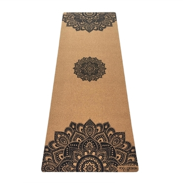 Yoga Design Lab 3.5mm Cork Yoga Mat- Mandala Black