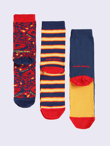 Diesel 3Pack Ponožky Červené Se Vzory