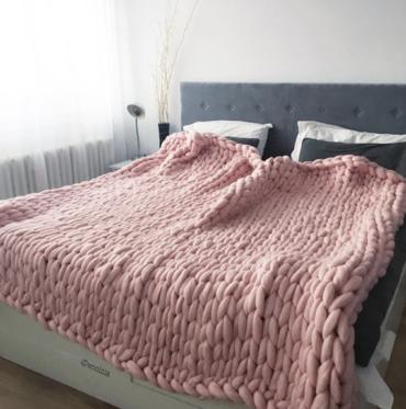 Merino Vlnená Deka Růžová 130x150cm