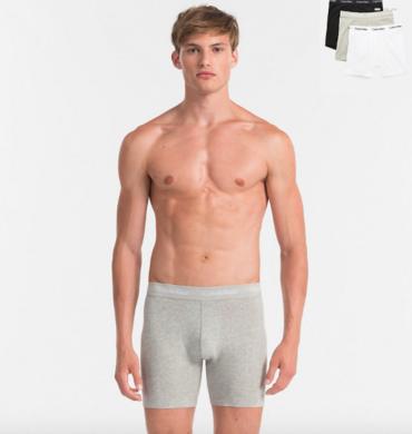 Calvin Klein 3Pack Boxerky Dlhé Bielé, Sivé A Čierné