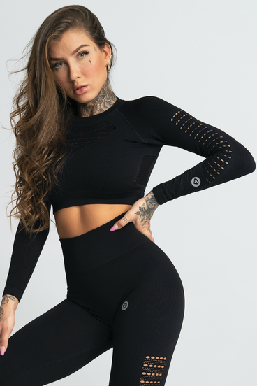 Gym Glamour Crop-Top Nero Black