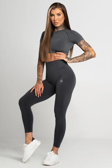 Gym Glamour Legíny Bezšvíkové Second Skin Dark Grey