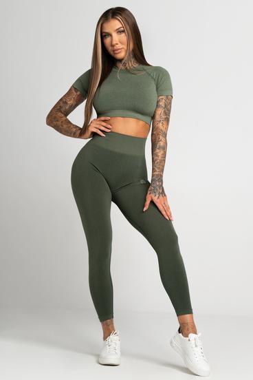 Gym Glamour Legíny Bezšvíkové Second Skin Khaki