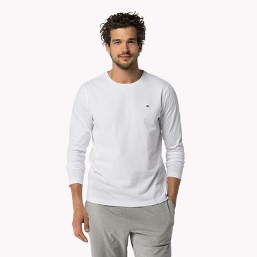 Tommy Hilfiger Pánska tričko s dlhými rukávmi Biele