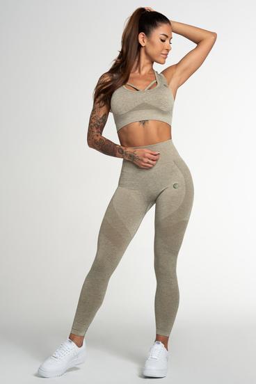 Gym Glamour Legíny Bezšvíkové Fusion Khaki