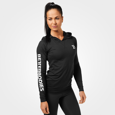 Better Bodies Tričko Performance Long Sleeve Hood Black