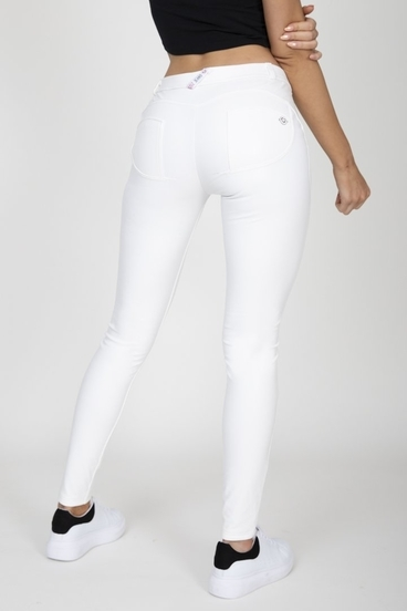 Hugz White Faux Leather Mid Waist
