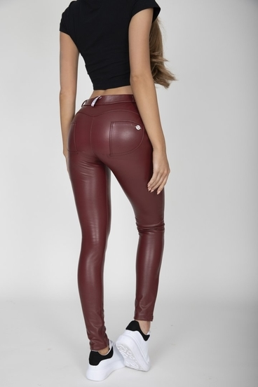 Hugz Wine Faux Leather Mid Waist