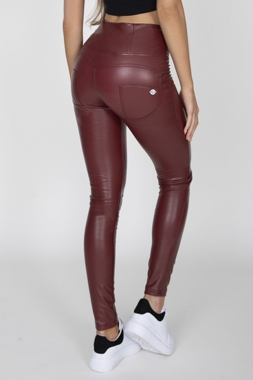 Hugz Wine Faux Leather High Waist