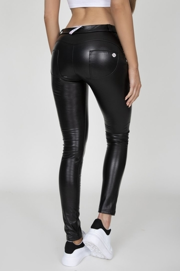 Hugz Black Faux Leather Mid Waist