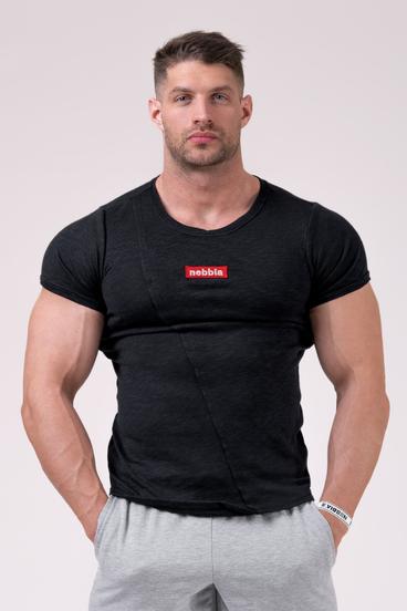 Nebbia Tričko 172 Label Muscle Back - Čierné