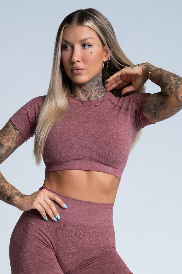 Gym Glamour Crop-Top s krátkým rukávom Rose Taupe, L - 1