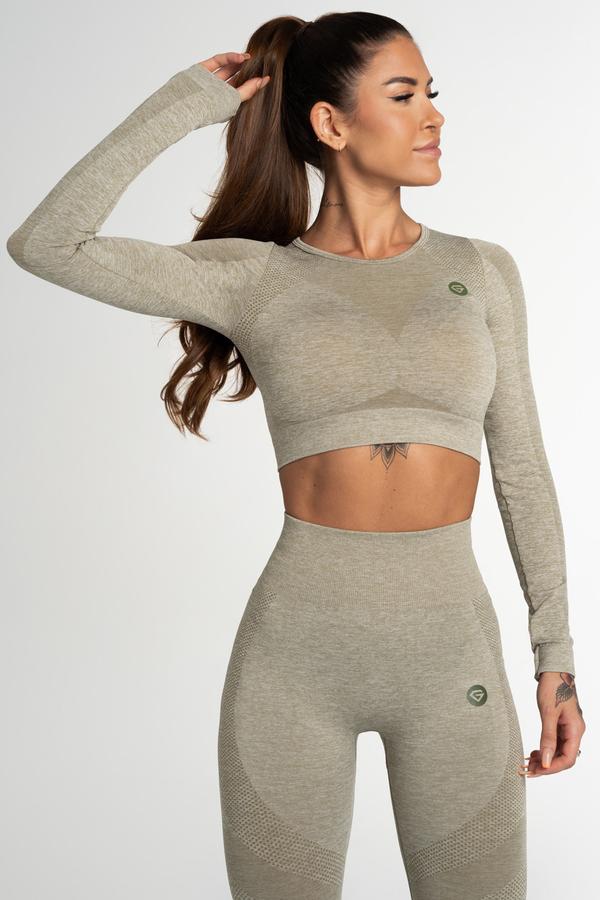 Gym Glamour Crop Top Bezšvíkový Fusion Khaki, XS - 1