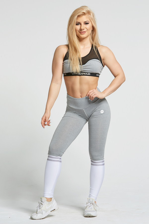 Gym Glamour Legíny Grey & White Socks, XS - 1