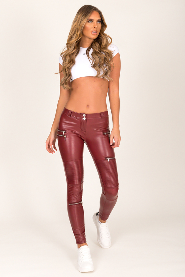 Hugz Wine Faux Leather Biker Low Waist - 1