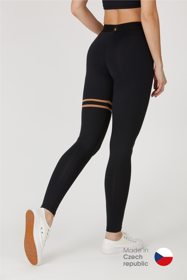 GoldBee Legíny BeStripe Up Black&Latté - 1