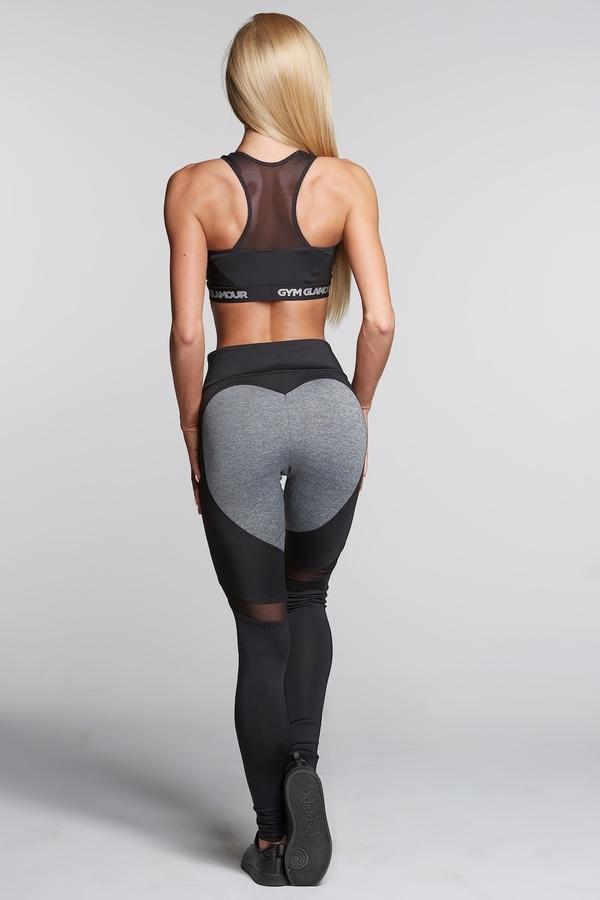 Gym Glamour Legíny Black And Grey Heart, S - 1