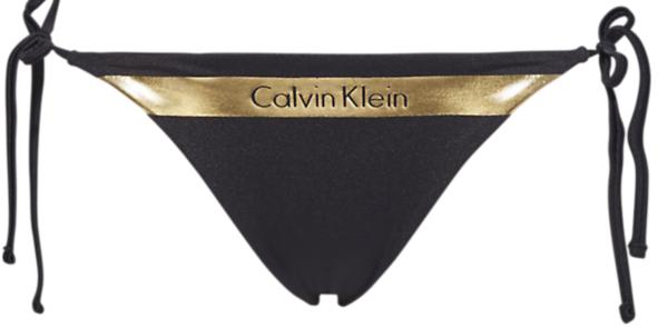 Calvin Klein Plavky Cheeky String Side Black&Gold Spodní Diel, XS - 1