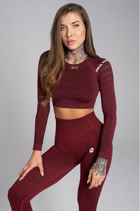 Gym Glamour Crop-Top Bordo Melange, S - 1