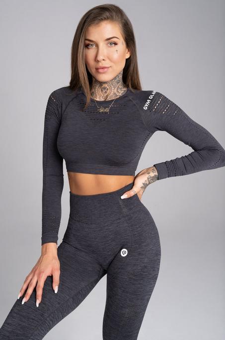 Gym Glamour Crop-Top Grey Melange, XS - 1