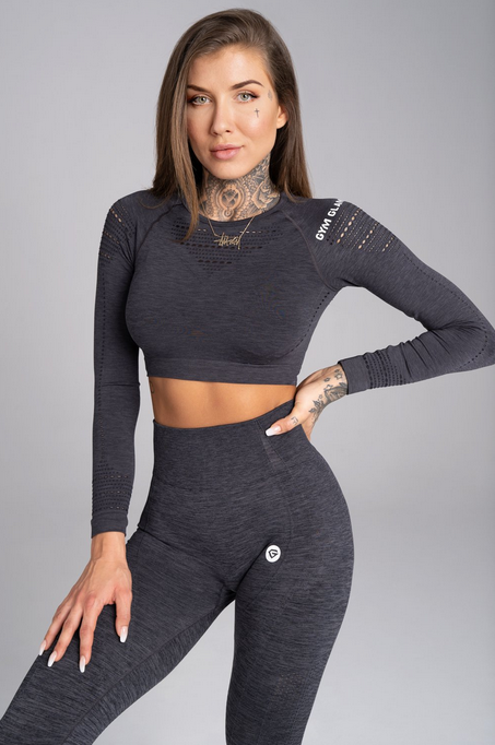 Gym Glamour Crop-Top Grey Melange - 1